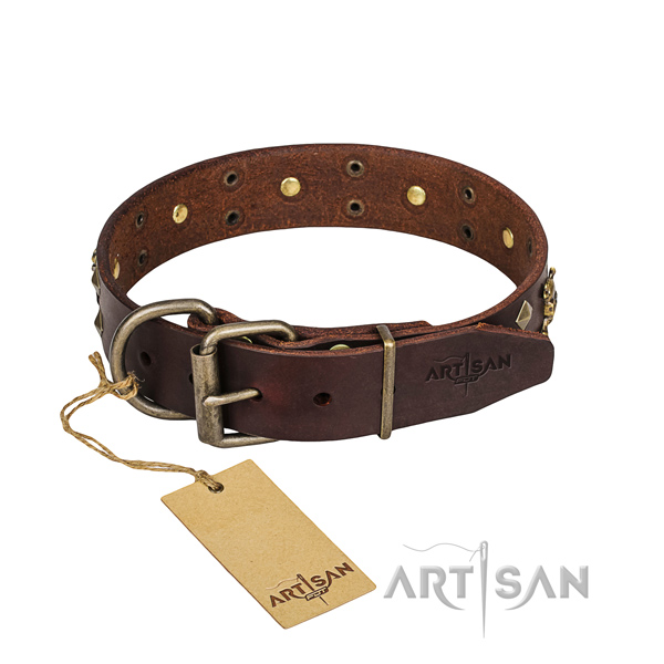 Leather dog collar with smoothed edges for convenient everyday outing