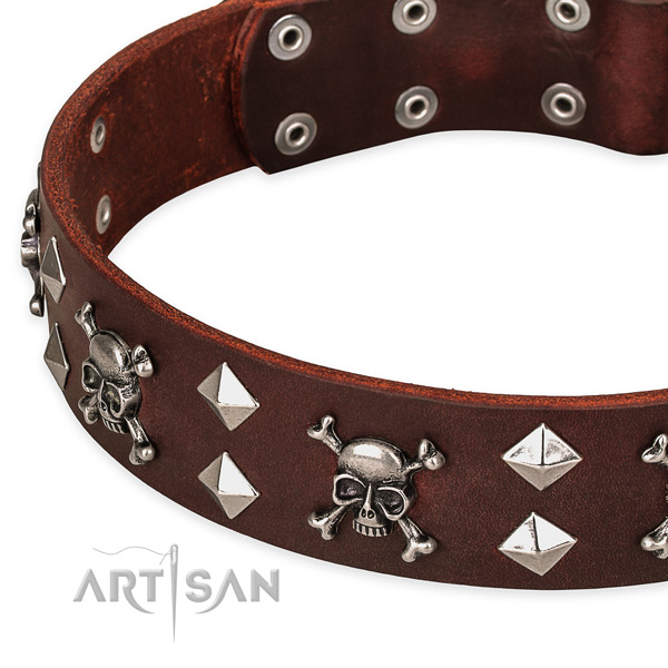 Full grain leather dog collar for safe pet control