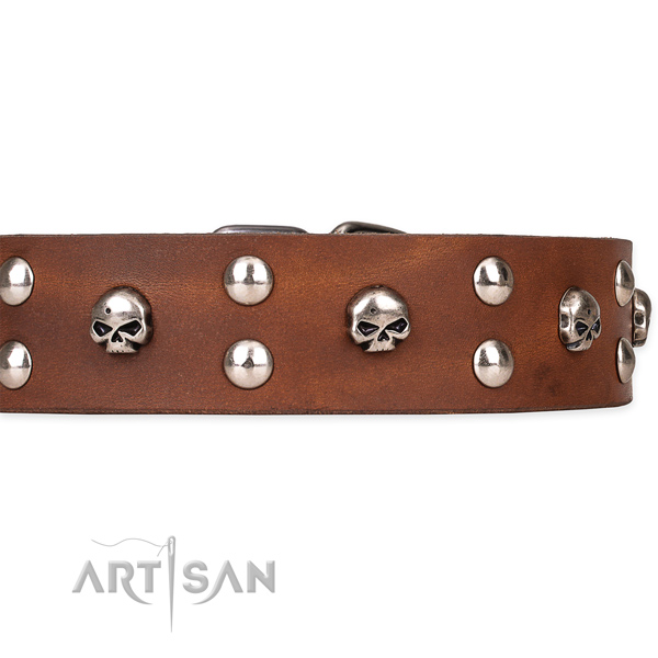 Genuine leather dog collar with smooth exterior