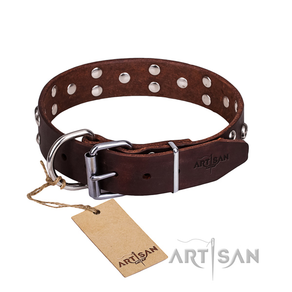 Leather dog collar with worked out edges for comfy daily use