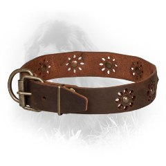 Leather Newfoundland Collar with Strong Buckle and D-Ring