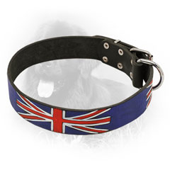 Leather Newfoundland Collar with UK Flag Painting