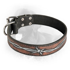 Barbed Wire Drawing Leather Collar