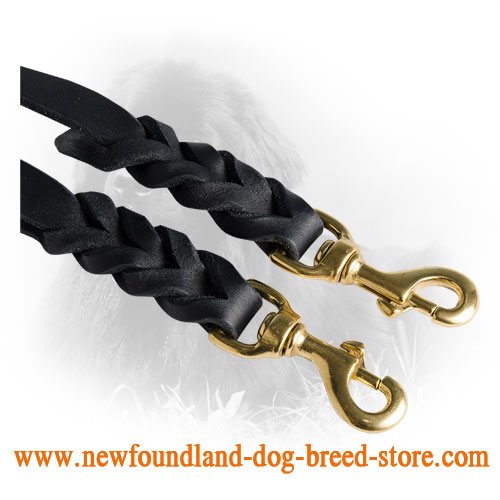 Brass Snap Hooks on Newfoundland Leather Coupler