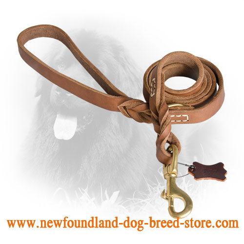 Leather Newfoundland Leash with Strong Snap Hook