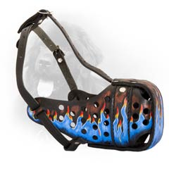 Black Leather Dog Muzzle with Blue Painting