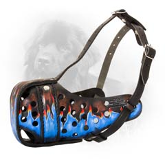 Leather Dog Muzzle with Blue Painting