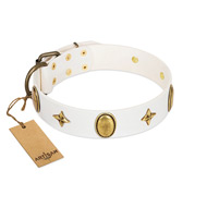 """Hollywood Star"" FDT Artisan White Leather Newfoundland Collar with Ovals and Stars - 1 1/2 inch Wide"