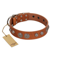 """Era Infinitum"" FDT Artisan Tan Leather Newfoundland Collar Adorned with Chrome-plated Circles"
