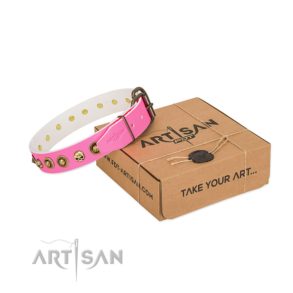 Genuine leather collar with stunning adornments for your dog