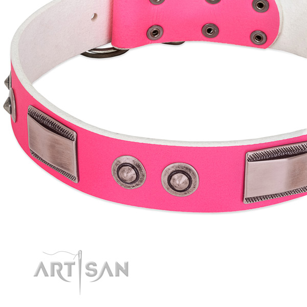 Easy wearing leather collar with studs for your canine