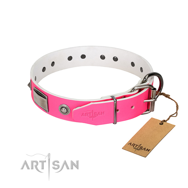 Handcrafted dog collar of genuine leather with embellishments