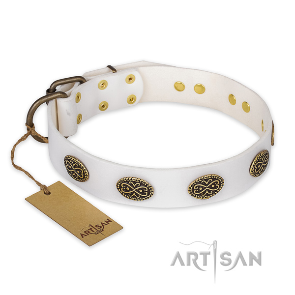 Fashionable leather dog collar with corrosion resistant D-ring
