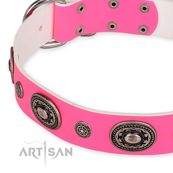 Flexible leather dog collar handcrafted for your lovely dog