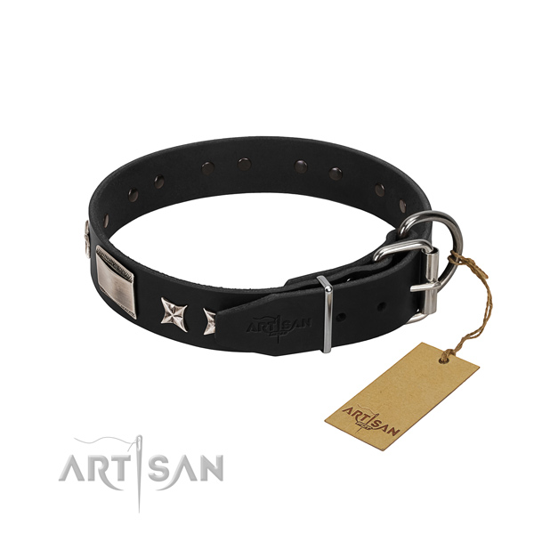 High quality leather dog collar with rust-proof buckle
