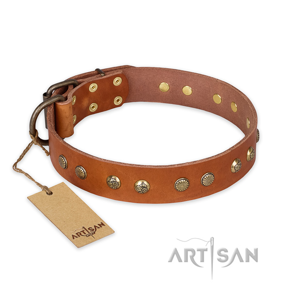 Decorated leather dog collar with corrosion resistant traditional buckle