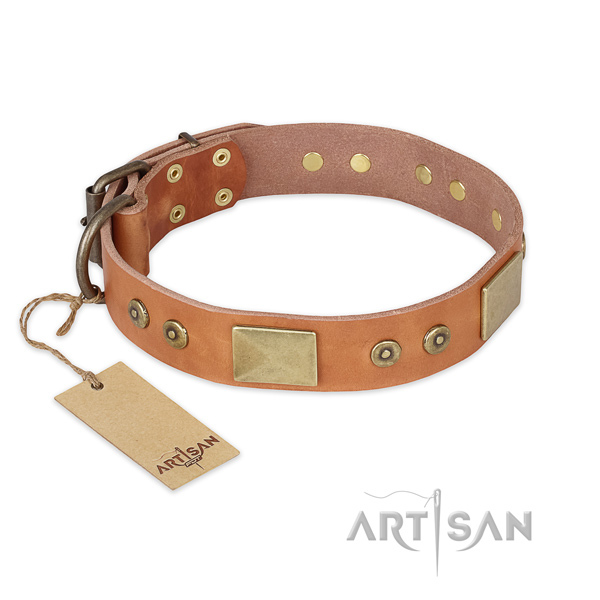 Handmade full grain leather dog collar for walking