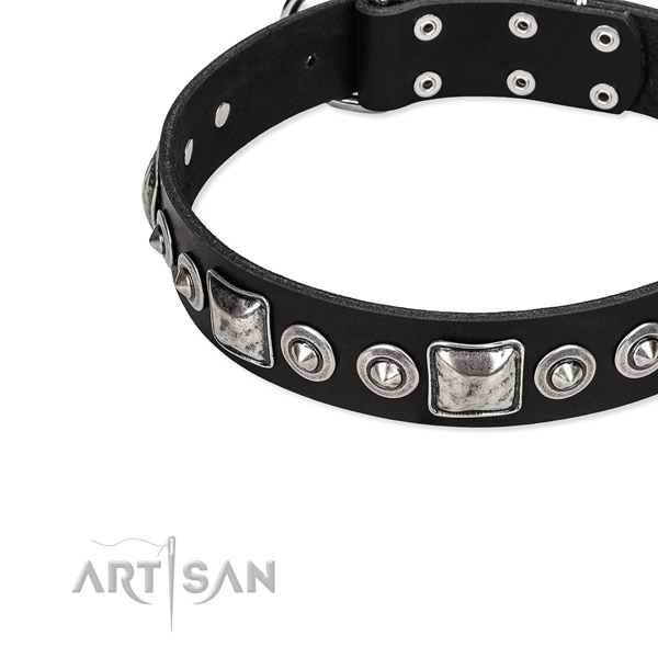 Leather dog collar made of high quality material with adornments