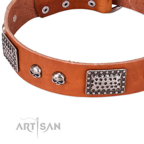 Strong fittings on natural genuine leather dog collar for your canine