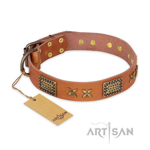 Decorated natural genuine leather dog collar with rust resistant hardware