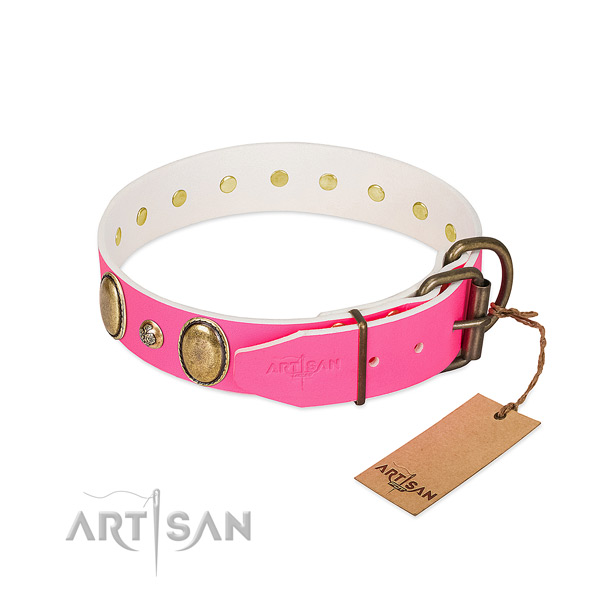 Handy use reliable full grain natural leather dog collar
