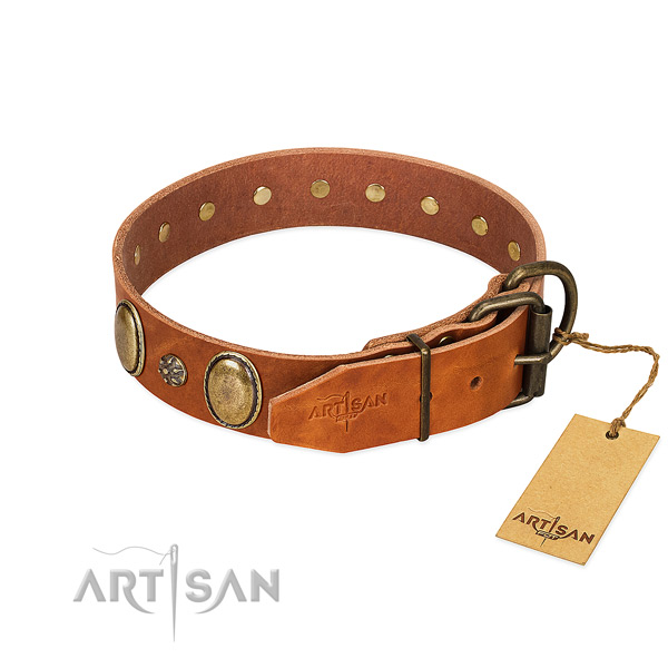 Comfortable wearing best quality genuine leather dog collar