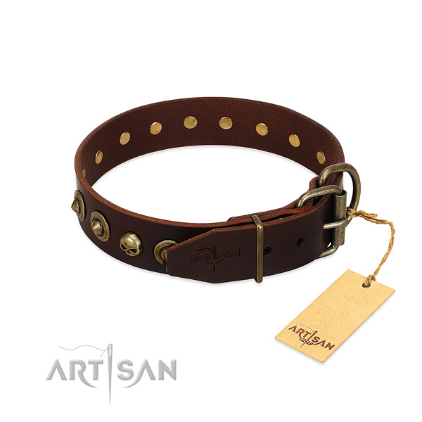 Genuine leather collar with top notch embellishments for your doggie