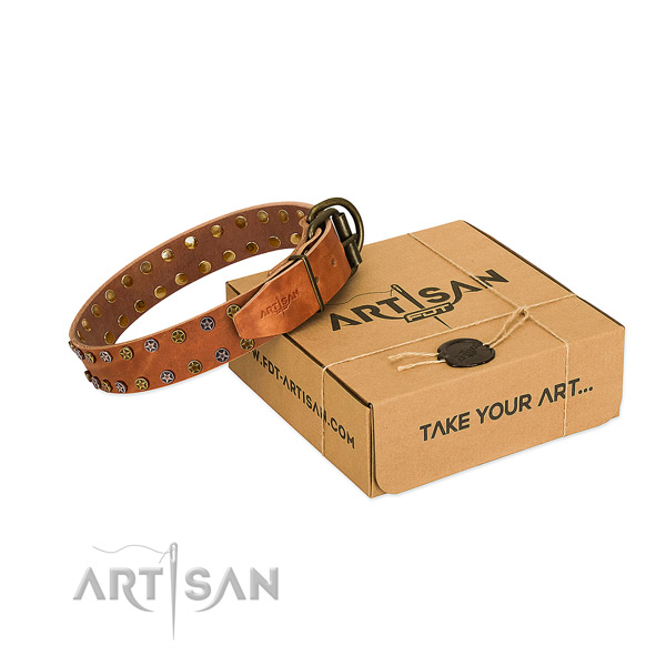 Everyday use gentle to touch full grain natural leather dog collar with embellishments