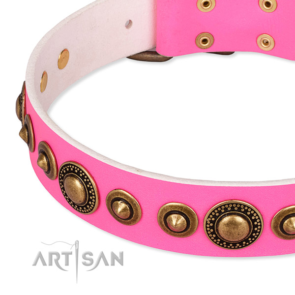 Reliable full grain natural leather dog collar made for your attractive pet