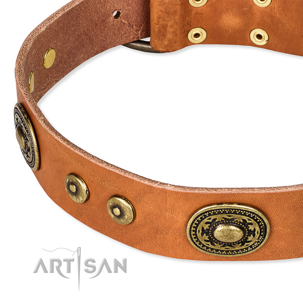 Natural genuine leather dog collar made of soft material with studs
