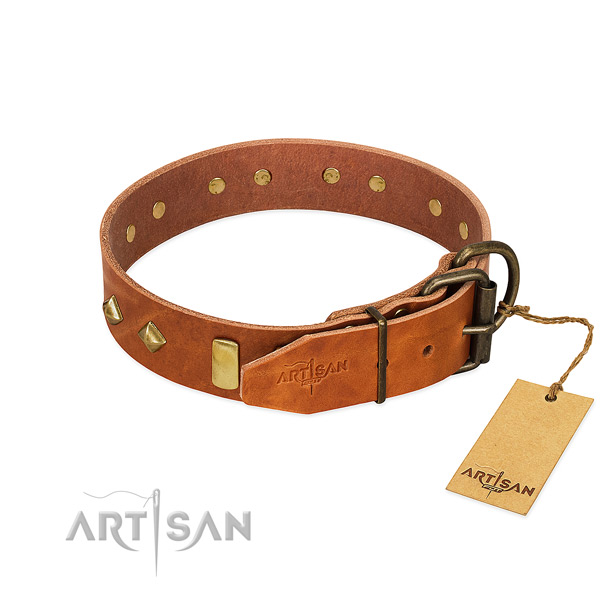 Gentle to touch natural leather dog collar with strong D-ring