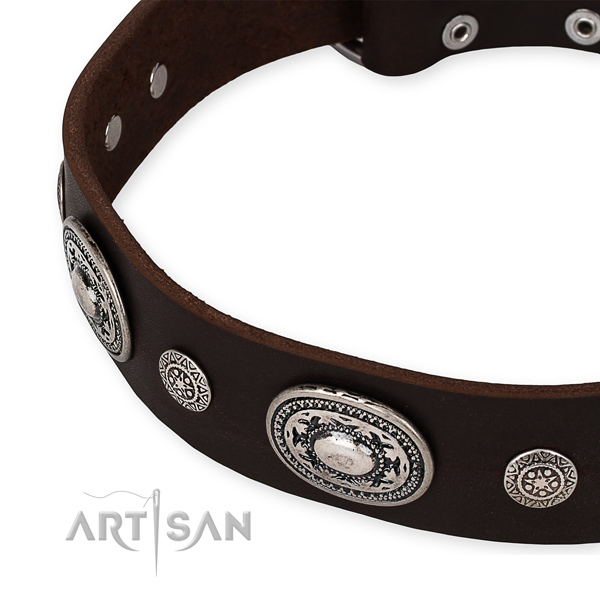 Top notch genuine leather dog collar handcrafted for your attractive doggie