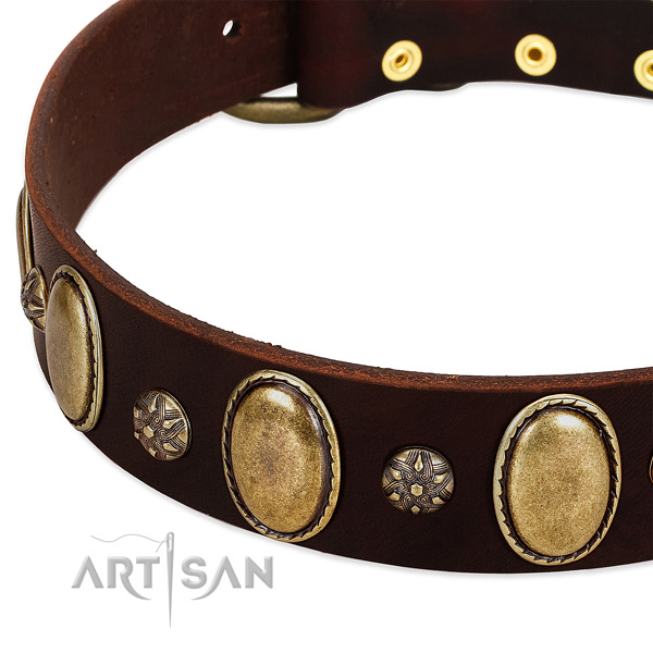 Handy use soft to touch full grain genuine leather dog collar