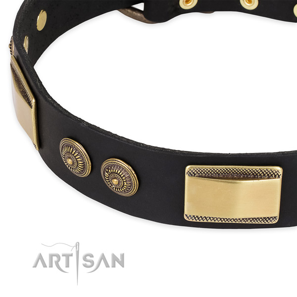 Top quality full grain genuine leather collar for your impressive dog