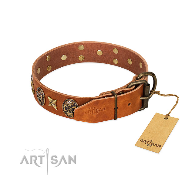 Natural genuine leather dog collar with rust-proof traditional buckle and studs