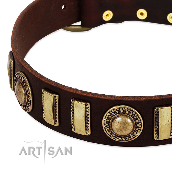 Soft full grain genuine leather dog collar with rust-proof D-ring