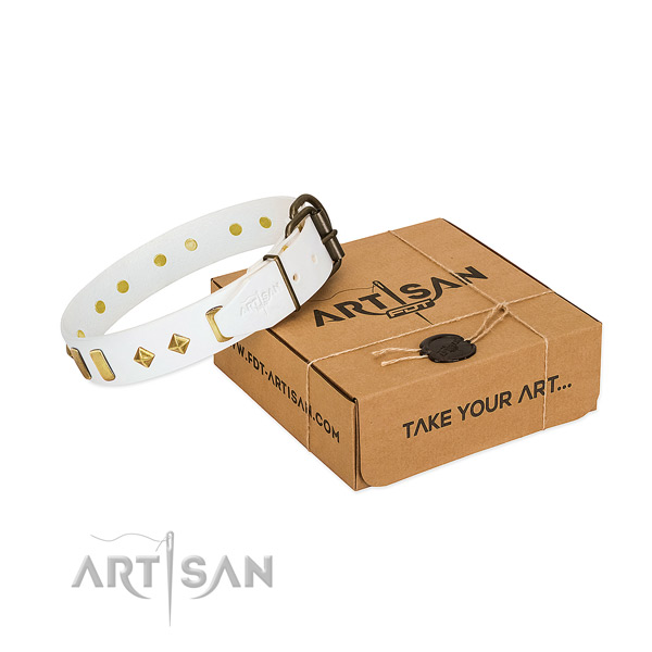 Soft to touch natural leather dog collar with corrosion proof hardware