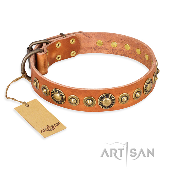 High quality full grain natural leather collar handmade for your four-legged friend