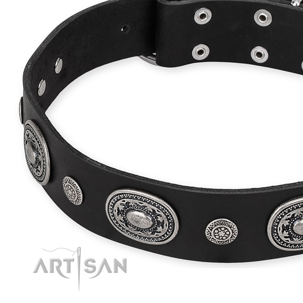 Soft to touch leather dog collar handcrafted for your beautiful dog