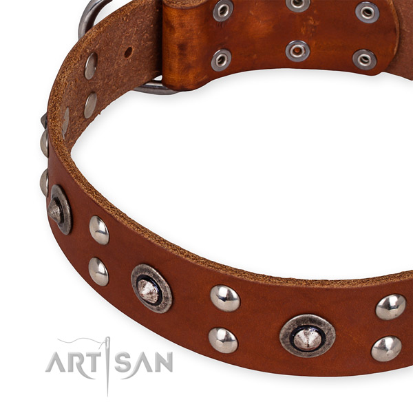 Genuine leather collar with rust resistant D-ring for your handsome pet