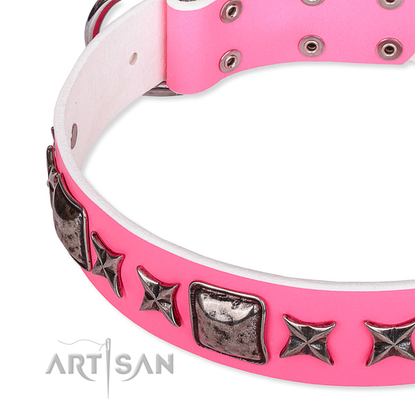Easy wearing decorated dog collar of reliable full grain natural leather