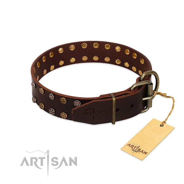 Daily walking full grain genuine leather dog collar with unique decorations