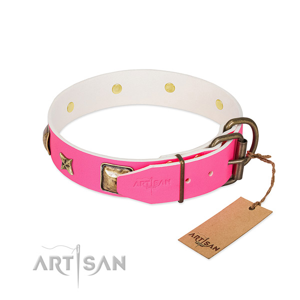Rust resistant hardware on natural genuine leather collar for basic training your pet