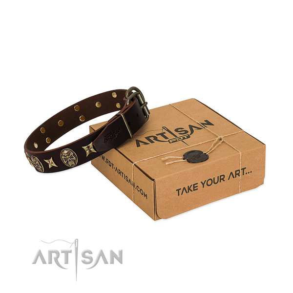 Impressive genuine leather collar for your lovely canine