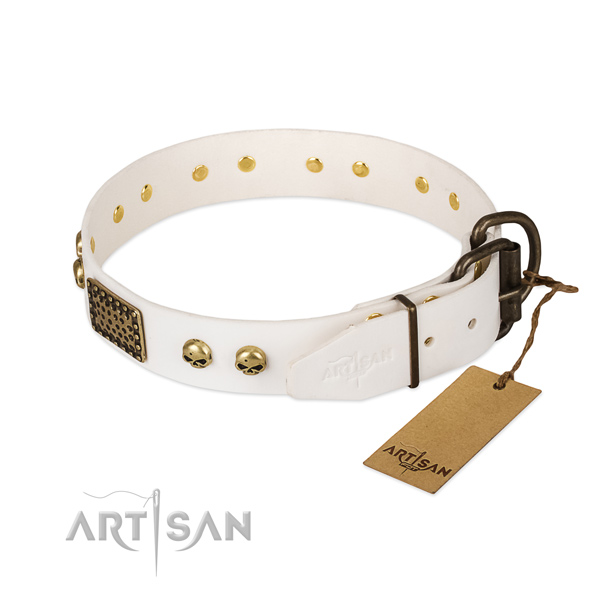 Adjustable natural leather dog collar for basic training your canine