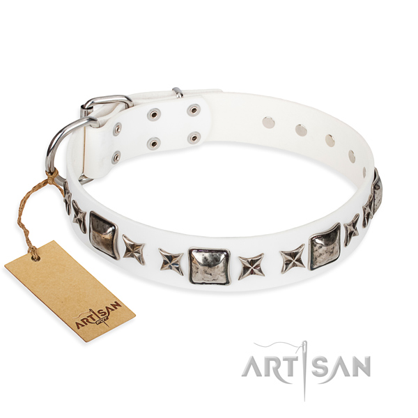 Easy wearing dog collar of strong genuine leather with adornments