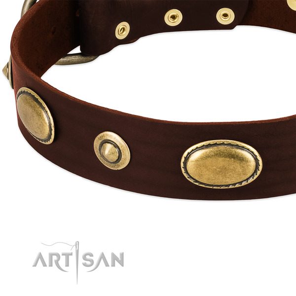 Rust-proof fittings on full grain genuine leather dog collar for your dog