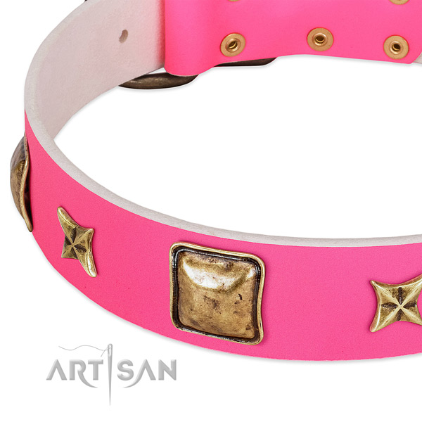 Full grain genuine leather dog collar with trendy decorations
