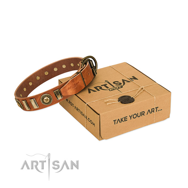 Flexible natural leather dog collar with strong fittings