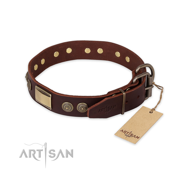 Strong hardware on full grain leather collar for fancy walking your dog